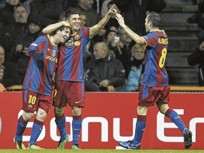 Famous three: Lionel Messi, David Villa and Andres Iniesta. Picture: Ernst van Norde