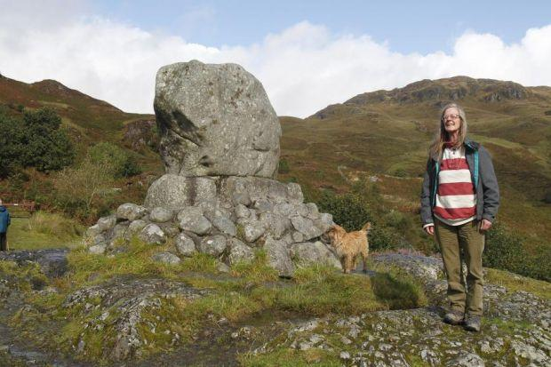 Maitland next to the boulder at Glen Trool that marks Robert the Bruce's ambush of the English, after being inspired by a determined spider  in a cave in  Rathlin Island Maitland's friend, author Angela Carter, wrote The Company of Wolves, a fantasy-horro