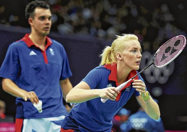 Chris Adcock and Imogen Bankier in mixed doubles action  at the London 2012 Olympic Games at Wembley Arena.  Picture: Michael Regan/Getty Images