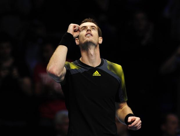 Andy Murray celebrates after clinching victory over Tomas Berdych yesterday. Picture: Kieran Doherty/Reuters