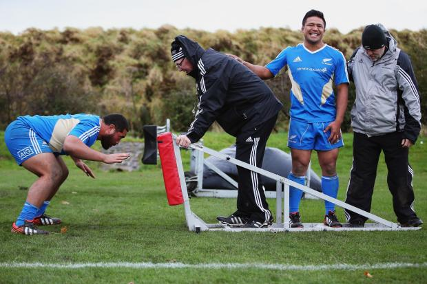 All Blacks in relaxed mood during a training session at Peffermill University yesterday.Picture: Hannah Johnston/ Getty Images