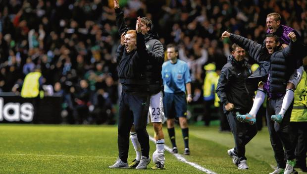 Neil Lennon has drawn praise from all quarters in the days since the 2-1 win over Barcelona, including, unexpectedly from  Sir Elton John, who phoned the Celtic manager at his home this week. Picture: Colin Mearns