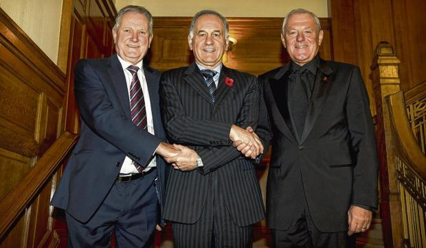 Charles Green, centre, welcomes Ian Hart and Walter Smith on to the Ibrox board yester