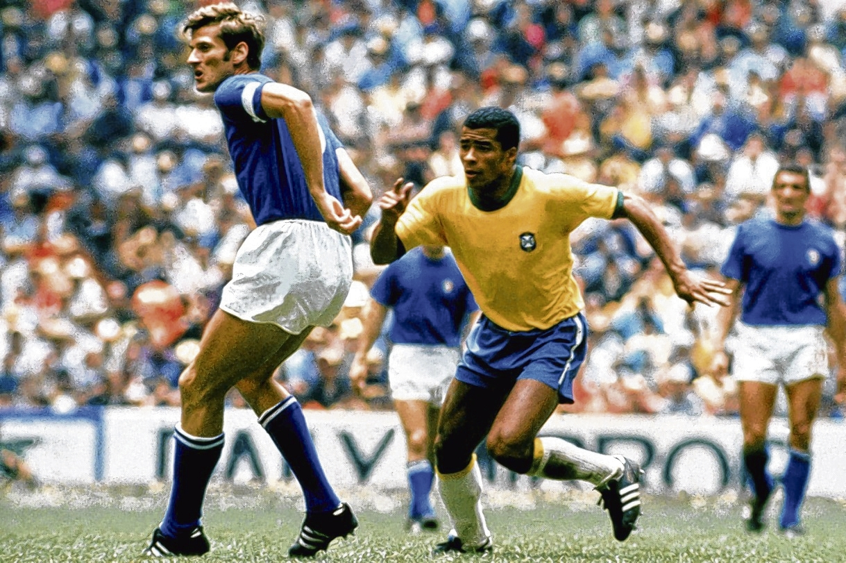 Giacinto Facchetti, of Italy, and Brazil's Jairzinho: just two of the stars who made 1970 so great. Picture: Peter Robinson/EMPICS