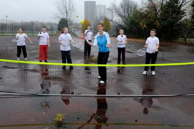 Judy Murray coaching youngsters in Drumchapel