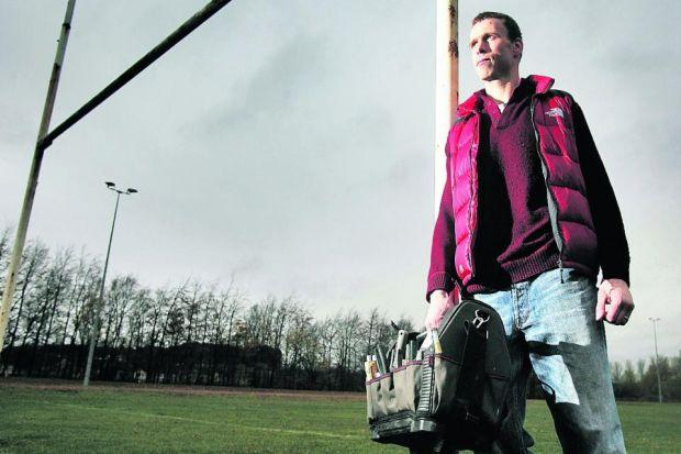 Andy Henderson is still playing rugby but he is also training to be a plumber   Photograph: Marc Turner