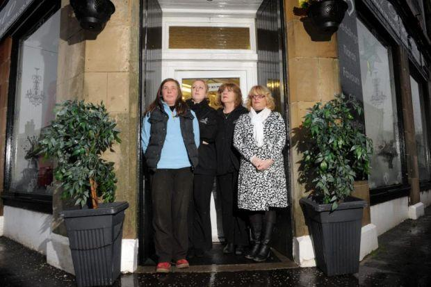 LARGS: No-one in the seaside town is screaming and shouting over the BID issue, according to Peter Valerio, above. ANNOYED: Left to right, newsagent Kirsty Russell, Julie and Marie Harris of Duo Weddings and hairdresser Clare Ward are all unhappy about th