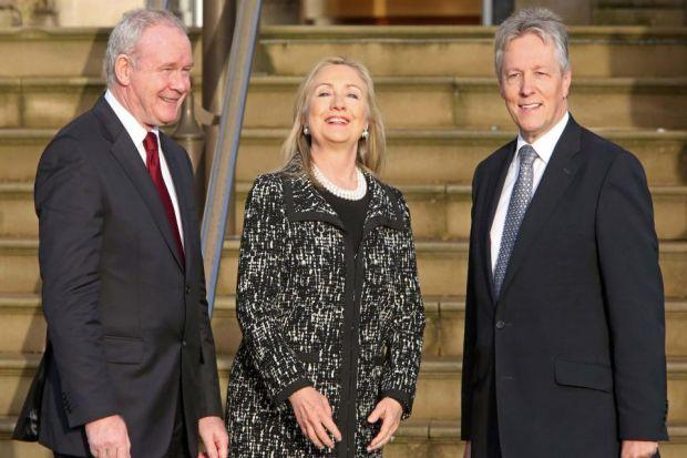ADVISOR: Hillary Clinton with Northern Ireland First Minister Peter Robinson and deputy Martin McGuinness  at Stormont Castle. Picture:  Paul McErlane