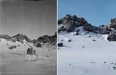 Photograph of the original camp, 1912, and Professor Oppenheimer's picture in 2012