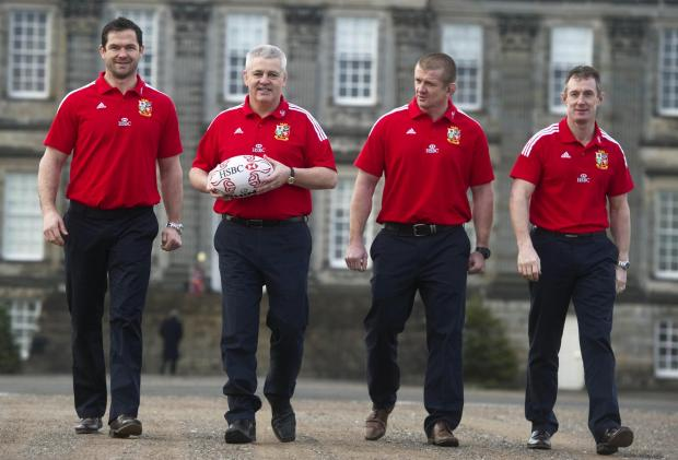 Warren Gatland with assistants Andy Farrell, left, Graham Rowntree and Rob Howley at Hopetoun House, South Queensferry yesterday. Picture: SNS