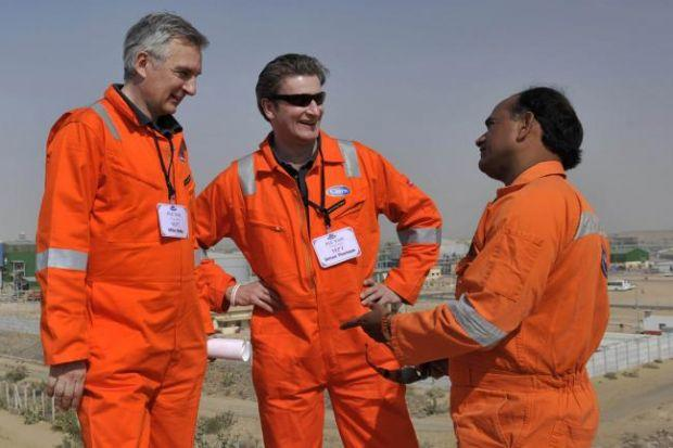 BRIGHT FUTURE: Cairn chief Simon Thompson, centre, aims to balance frontier exploration with less risky activity.