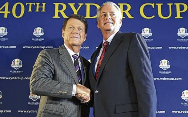Tom Watson poses with Ted Bishop, president of the PGA of America at yesterday's announcement. Picture: AP Photo