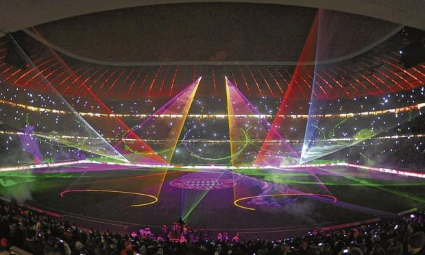 A laser show just adds to the matchday experience at the  Allianz Arena. Picture: EPA Tomorrow Nick Rodger