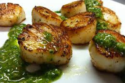 Blood Bay scallops with lemon Gallet and Asian pesto