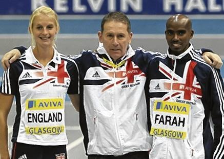 Ian Stewart with two of his pupils, Hannah England and Mo Farah. Picture: Stewart Attwood