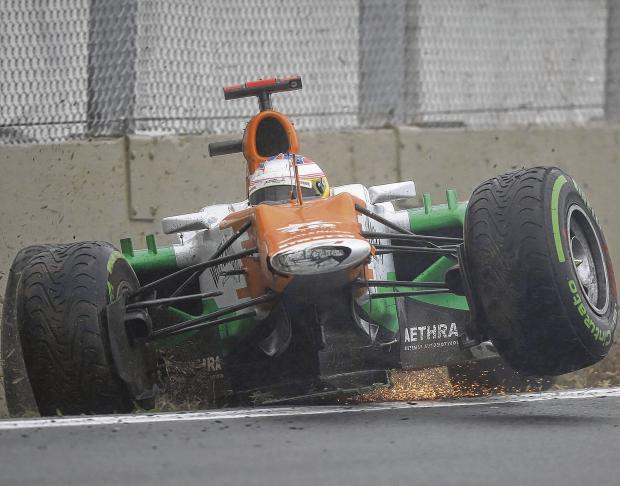 Scotland's Paul Di Resta of Force India crashes out of the final Formula One race of the season at Interlagos in Brazil. Picture: Reuters
