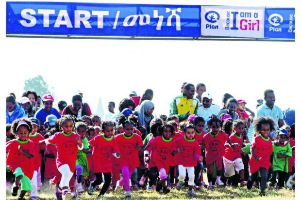 More than 3500 children, aged from three to 11, took part in races in the Ethiopian capital   Photograph: Paul Gains