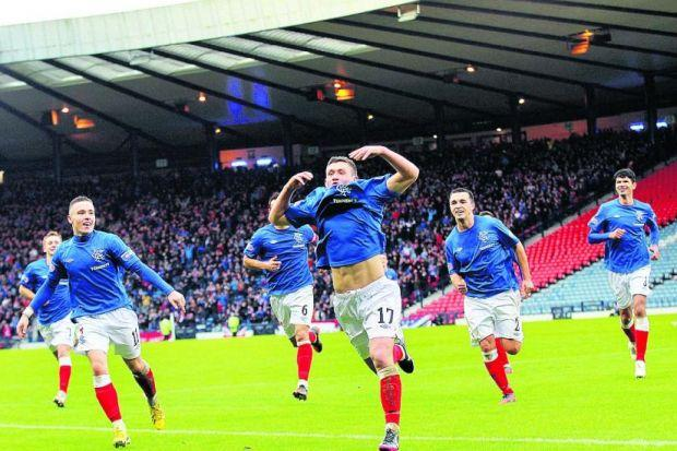 Fraser Aird runs to the Rangers supporters to celebrate his last-gasp goal   Photograph: PA