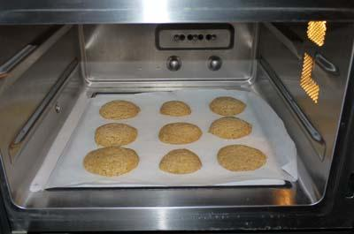 A finished batch of microwaveable biscuits