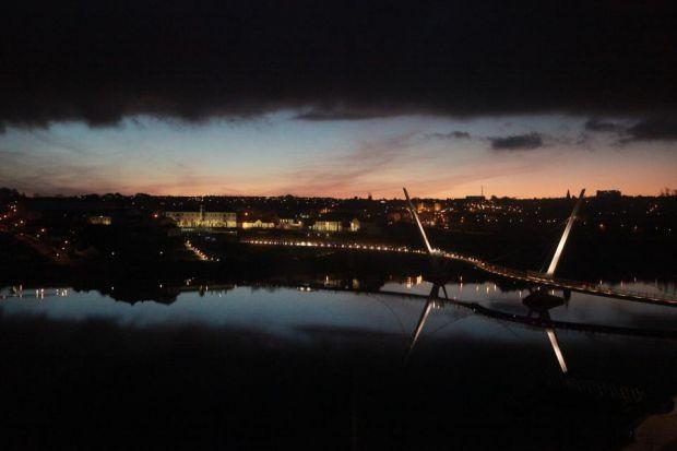 The Peace Bridge across the Foyle at daybreak. Photograph: Elaine Livingstone