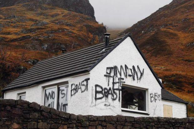 The cottage in Glencoe, known as Allt Na Reigh. Above, from left: Cameron McNeish, Hamish MacInnes and Jimmy Savile  Ma