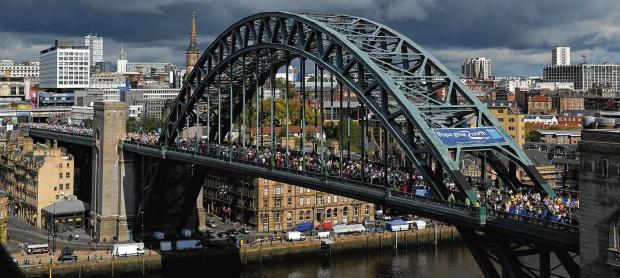 The Great North Run, the world's biggest half marathon, attracts 54,000 entries annually. Picture: Owen Humphries/PA