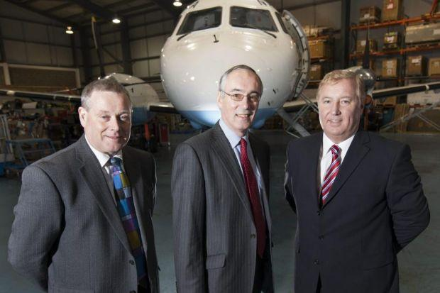 TAKE-OFF: From left, chief operating officer Phil Preston, executive chairman David Harrison and chief executive Stewart Adams. Picture: Chris James