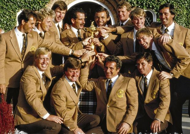 Spot the skippers . . . Five members of Tony Jacklin's victorous Ryder Cup team of 1985, went on to captain the side. Sandy Lyle, standing, sixth from left, was not one of them. Picture: Getty Images
