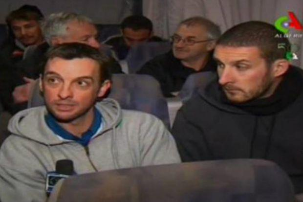released: TV footage believed to show Scots hostage Iain Strachan, left, who was among those freed by Algerian forces. Picture: Algerian State Television