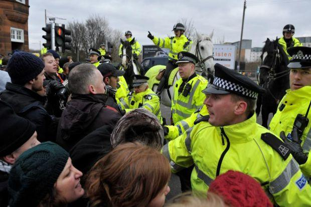 confrontation: Police keep back protesters in Glasgow as Scottish Defence League members, right, are escorted to Melville Street where William McKeeney, above, was murdered by Adel Ishaq, top far right, and Asif Rehman. Main picture: Nick Ponty