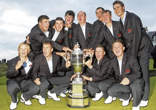 Great Britain and Ireland celebrate their Walker Cup victory over the Balgownie Links at Royal Aberdeen Golf Club in September 2011.  Picture: Ian MacNicol/Getty Images