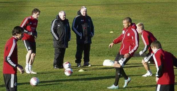 Craig Brown and Archie Knox oversee a training session, but their future at Pittodrie is uncertain