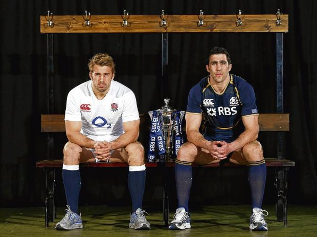 England captain Chris Robshaw and Scotland counterpart Kelly Brown pose during the RBS 6 Nations launch in London