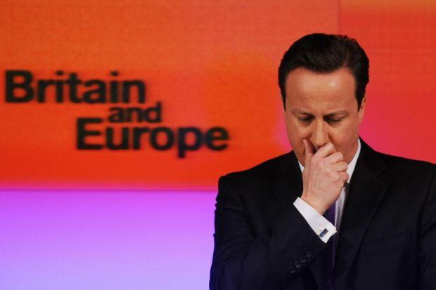 die is cast: David Cameron pauses for thought during his long-awaited landmark speech on Europe. Picture:PA