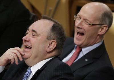 Alex Salmond and John Swinney during First Minister's Questions
