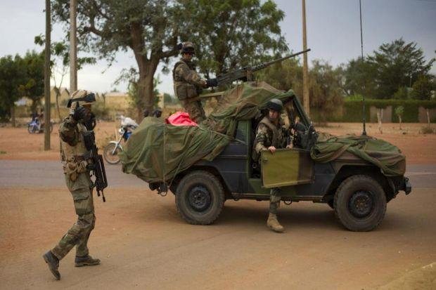 French soldiers arrive in the city of Sevare, around  385 miles north of the             Malian capital Photograph: Thibault Camus/AP