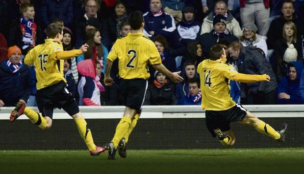 David Gray, right, celebrates his 90th-minute equaliser