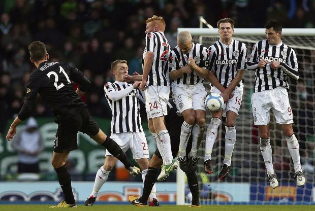St Mirren's wall stand firm against Charlie Mulgrew's free-kick. Picture: Getty Images