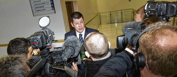 Neil Doncaster, the Scottish Premier League chief executive, addresses the media at Hampden yesterday. Picture: SNS
