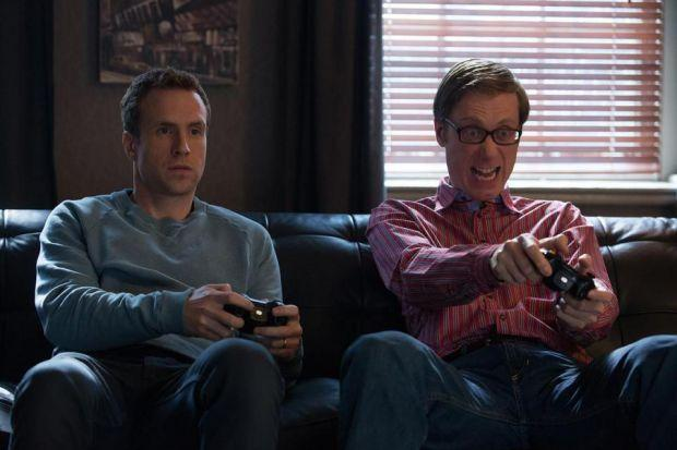 HOLLYWOOD CALLING: Stephen Merchant in, above, I Give It A Year with Rafe Spall, and, left, Life's Too Short with writing partner Ricky Gervais. He stars alongside Halle Berry, far left, in Movie 43.