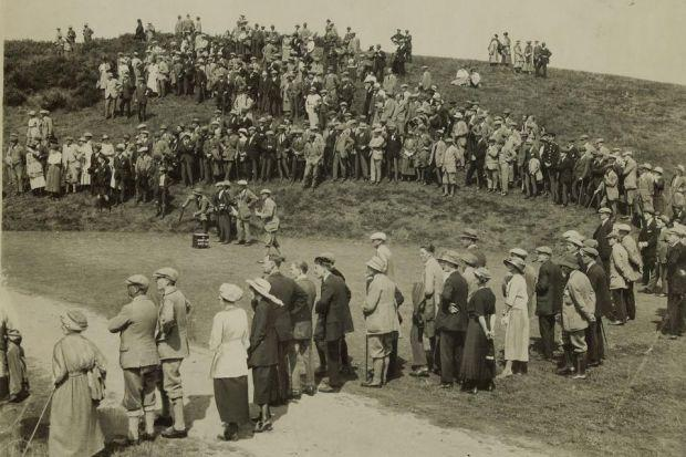 From left: Dr Jake Davidson at Pollok Golf Club, whose archives he was researching when he chanced upon The Glasgow Herald's role in the creation of the Ryder Cup; spectators mill around the scoreboard at Gleneagles in 1921; and JH Taylor, captain of the