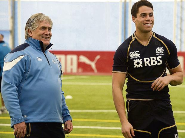 Scotland's interim head coach Scott Johnson in relaxed mood alongside Sean Maitland during yesterday's captain's run. Picture: Craig Watson/SNS