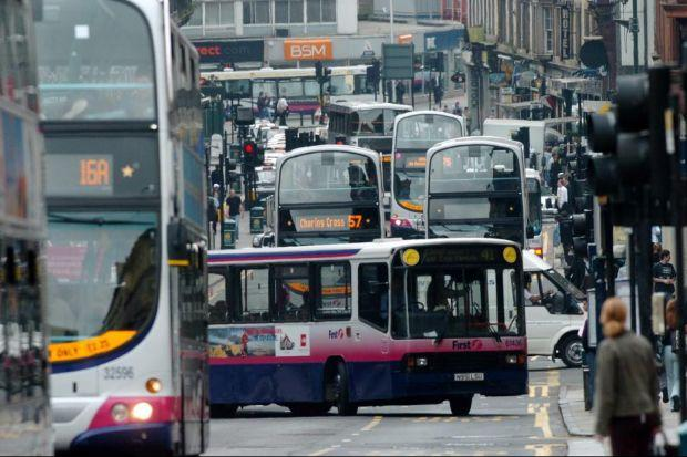 FUMING: Buses contribute to Hope Street, in Glasgow, achieving the distinction of being the most pollute