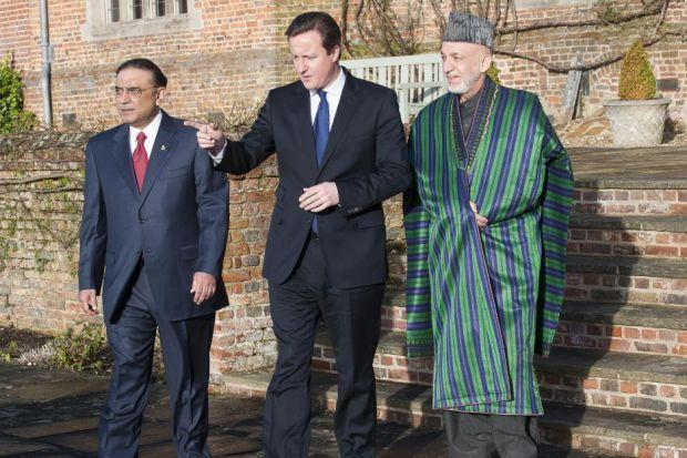 talks: David Cameron hosted President Asif Ali Zardari of Pakistan, left, and President Hamid Karzai of Afghanistan at Chequers. Picture: David Parker