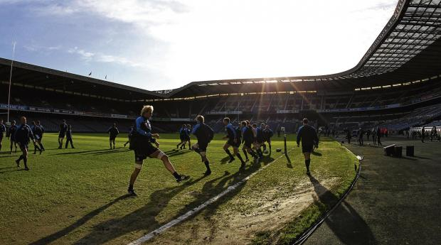 The Scotland squad limber up during yesterday's captain's run at  Murrayfield. Picture: PA