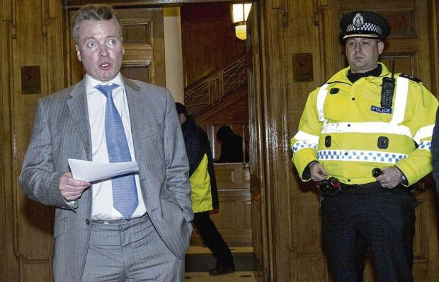 Craig Whyte takes to the steps of Ibrox to announce Rangers are going into administration. Picture: SNS