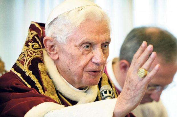 turmoil: Pope Benedict announces his shock decision to resign, the first papal abdication in 600 years, after blaming his poor health. Picture:PA