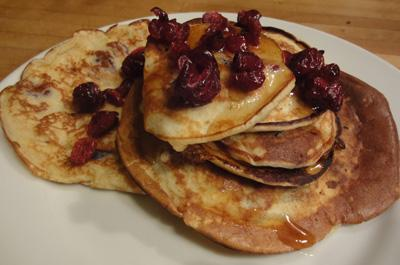 Cranberry and soft cheese pancakes