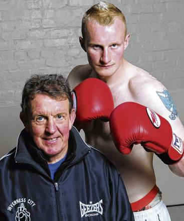Trainer Laurie Redfern with heavyweight prospect Gary Cornish. Picture: Callum MacKay