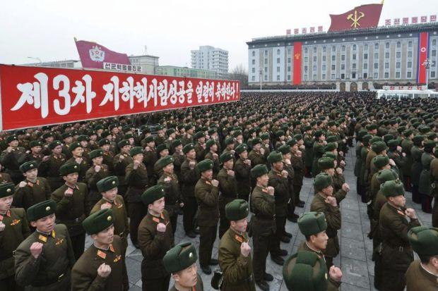 MIGHT: Soldiers attend a rally at the Kim Il-Sung Square in Pyongyang yesterday to celebrate the success of the country's nuclear test. Picture: Reuters